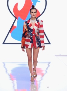 LOS ANGELES, CA - OCTOBER 05: A model walks the runway wearing Burning Guitars Clothing at Los Angeles Fashion Week SS18 Art Hearts Fashion LAFWon October 5, 2017 in Los Angeles, California. (Photo by Arun Nevader/Getty Images for Art Hearts Fashion)
