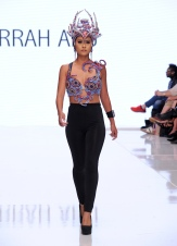 LOS ANGELES, CA - OCTOBER 05: A model walks the runway wearing Farrah Abu at Los Angeles Fashion Week SS18 Art Hearts Fashion LAFW on October 5, 2017 in Los Angeles, California. (Photo by Arun Nevader/Getty Images for for Art Hearts Fashion)