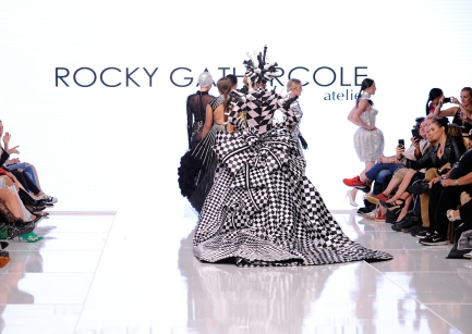 LOS ANGELES, CA - OCTOBER 05: Models walk the runway wearing Rocky Gathercole at Los Angeles Fashion Week SS18 Art Hearts Fashion LAFW on October 5, 2017 in Los Angeles, California. (Photo by Arun Nevader/Getty Images for Art Hearts Fashion)