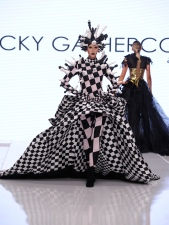 LOS ANGELES, CA - OCTOBER 05: A model walks the runway wearing Rocky Gathercole at Los Angeles Fashion Week SS18 Art Hearts Fashion LAFW on October 5, 2017 in Los Angeles, California. (Photo by Arun Nevader/Getty Images for Art Hearts Fashion)