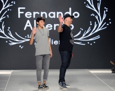 LOS ANGELES, CA - OCTOBER 06: Fashion designer Fernando Alberto on the runway at Los Angeles Fashion Week SS18 Art Hearts Fashion LAFW on October 6, 2017 in Los Angeles, California. (Photo by Arun Nevader/Getty Images for Art Hearts Fashion)