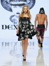 LOS ANGELES, CA - OCTOBER 06: A model walks the runway wearing Dexter Simmons at Los Angeles Fashion Week SS18 Art Hearts Fashion LAFW on October 6, 2017 in Los Angeles, California. (Photo by Arun Nevader/Getty Images for Art Hearts Fashion)