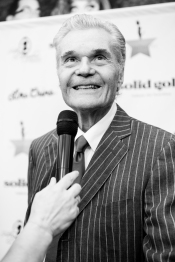 HOLLYWOOD, CA - APRIL 21: (EDITOR'S NOTE: Image was shot in black and white. Color version not available) Actor Fred Willard attends 'CATstravaganza featuring Hamilton's Cats' on April 21, 2018 in Hollywood, California. (Photo by Emma McIntyre/Getty Images for Kitty Bungalow) *** Local Caption *** Fred Willard