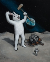 Luke Chueh_'Rabbit On the Moon_ (acrylic on panel, 30 x 24 inches)