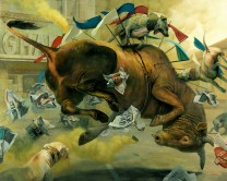 Martin Wittfooth 'Conquest_ (oil on canvas, 85 x 105 inches)