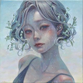 Miho Hirano 'Snowflake_ (oil on canvas, 12.9 x 12.9 inches)